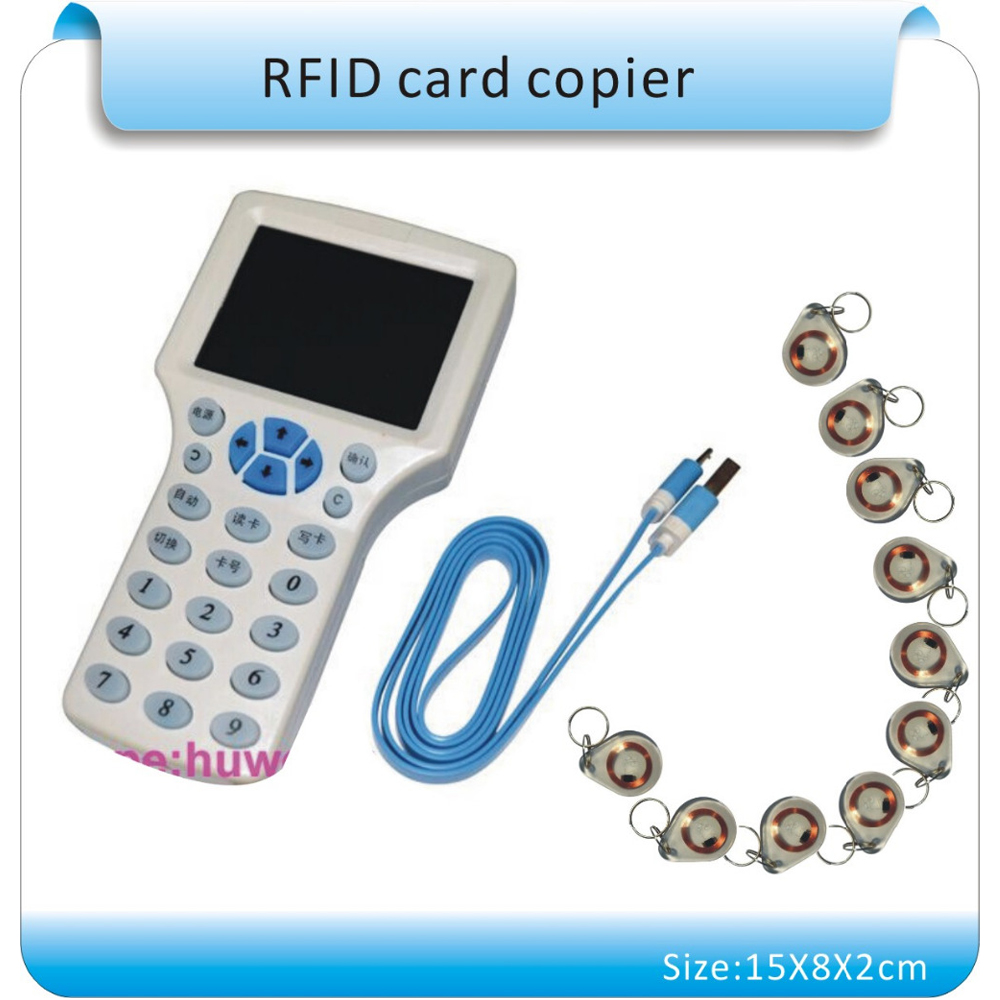 Super 9 frequency copy encrypted NFC Smart Card Read-Writer RFID Copier ID/IC Read-Writer+10Pcs 125khz +10Pcs 13.56MHZ UIDcards