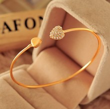 SL043 Hot New Fashion adjustable Crystal Double Heart Bow bilezik Cuff Opening Bracelet Women Jewelry Gift mujer pulseras