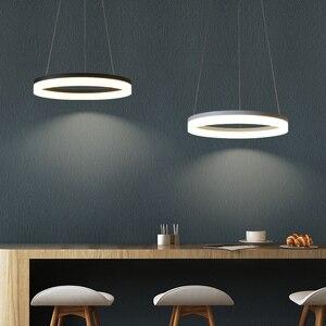 Image 4 - Trắng/Đen LED Hiện Đại Mặt Dây Chuyền Đèn Cho Ăn Phòng Khách Lamparas Colgantes Pendientes Treo Đèn Treo Đèn Led