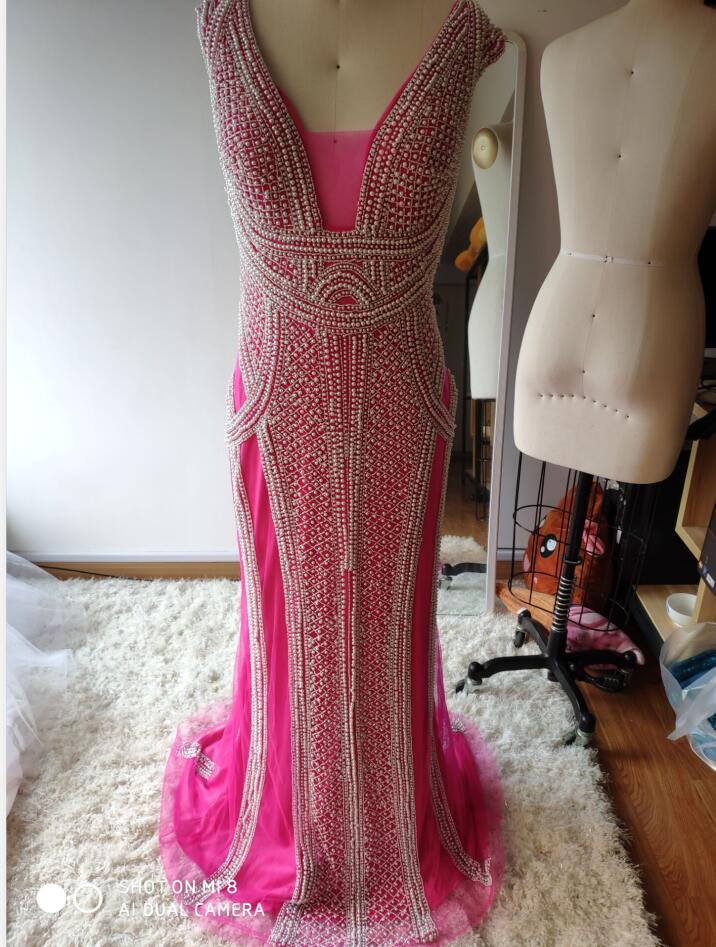 Настоящее фото цвета шампанского Русалка Вечерние платья с грушами развертки поезд блестящие вечерние платья Robe De Soiree в - Цвет: Красный