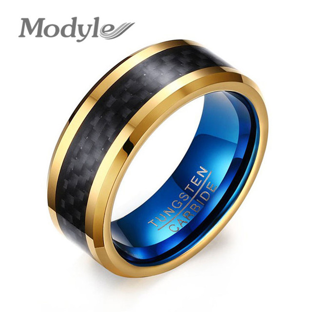 Modyle Gold-Cor Azul Mens Wedding Band jóias de Carboneto de Tungstênio Anéis para Homens Azuis