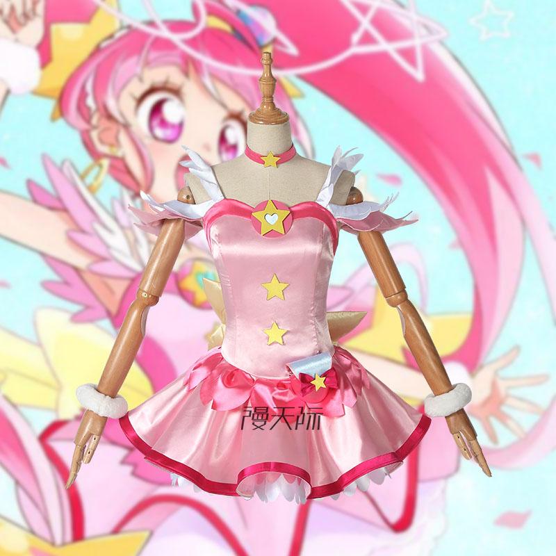 Anime! Star Twinkle Precure Hoshina Hikaru Cure Star Pink Lovely Lolita Dress Sexy Uniform Cosplay Costume Free Shipping
