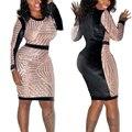 2016 Новый Розовое Золото Блесток Повязки Dress Офис Лоскутное Карандаш Midi Dress Sexy Ночной Клуб Dress Длинным Рукавом Bodycon Платья