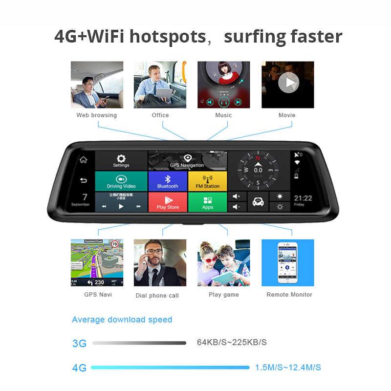 Jiluxing D10S 4G 1080 P داش كاميرا الروبوت 5.1 جهاز تسجيل فيديو رقمي للسيارات GPS والملاحة مرآة الرؤية الخلفية أداس WIFI مسجل فيديو للرؤية الليلية