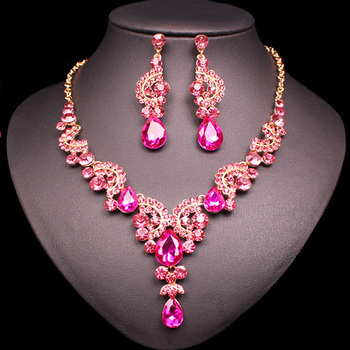 Fashion Crystal Jewelry Sets Jewelry Jewelry Sets Women Jewelry Metal Color: 2 pcs suit pink