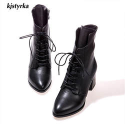 Kjstyrka botines mujer/2018 женские ботинки до середины икры, модные зимние Ботинки martin с острым носком, женские ботинки, botas mujer