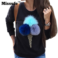 Missufe Claro Azul De Algodón Mujeres Sudadera Jumper Colorido Helado 3D Artificial de Piel Bola de Peluche Mujeres Casual Tops Jerseys