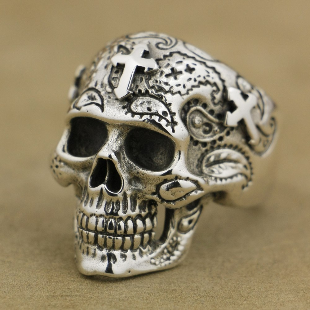 LINSION 925 Sterling Silver High Detail Skull Cross Ring Mens Biker Ring TA55 US Size 7