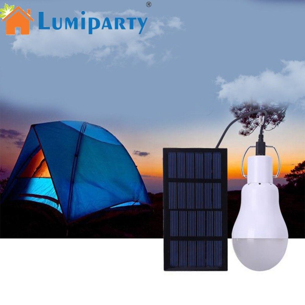 LumiParty LED Solar Charging Light Bulb Solar-Powered Outdoor Camping Bulb Light Sensor Tent Lamp Home Emergency Light