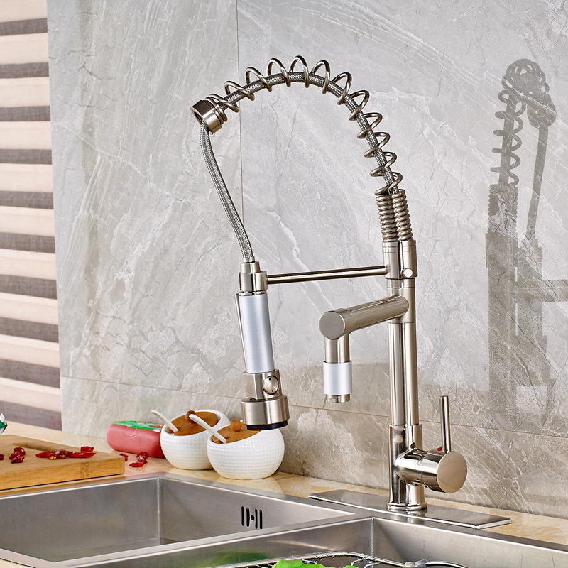 Modern Swivel Spring Pull Out Brush Nickle Kitchen Faucet Mixer Tap Single Hole solid brass tall swivel dual spouts spring kitchen faucet spring mixer tap brush nickle deck mounted