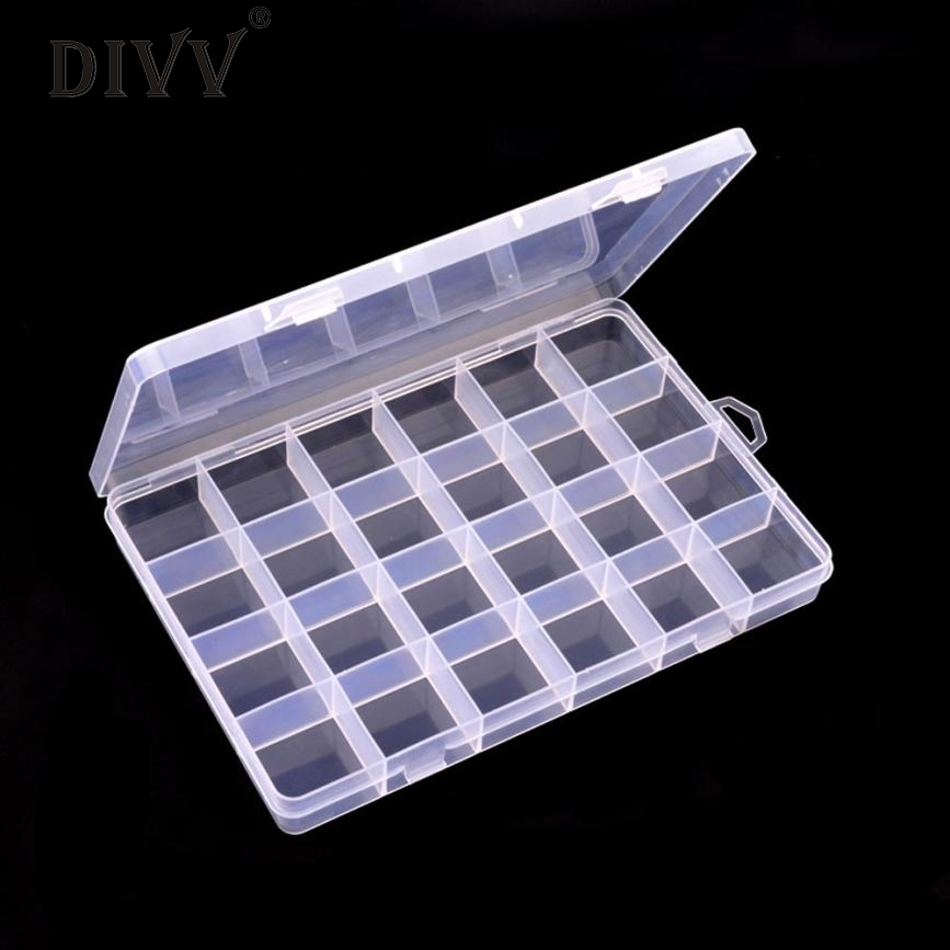 Plastic 24 Slots Adjustable Jewelry Storage Box Case Craft Organizer Beads Mar3 Levert Dropship
