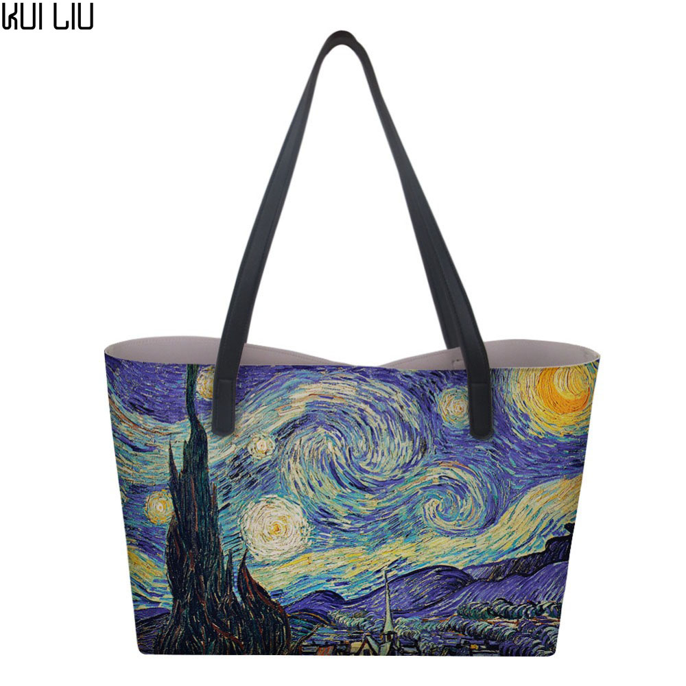 Women Shopping bag with little Purse Beach bag travel fanny Ladies luxury picnic BIG bags Vincent van Gogh Starry Night Print