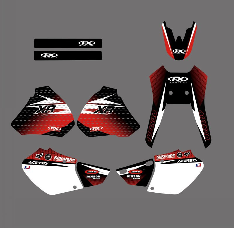 0185 New Style TEAM GRAPHICS&BACKGROUNDS DECALS STICKERS Kit for  XR250 XR400 1996 1997 1998 1999 2000 2001 2002 2003 2004 reflection
