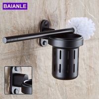 Free Shipping Bathroom Accessories Wall Mounted Black Space Aluminum Bathroom Toilet Brush Holder