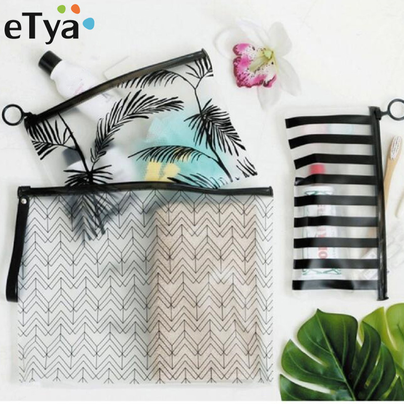 ETya Women Fashion Cosmetic Bags PVC Toiletry Bags Travel Organizer Necessary Beauty Case Makeup Bag Bath Wash Make Up Box