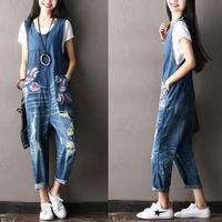Wide Leg Bib Denim Overalls 2019 Women Vintage Printed Flower jean Jumpsuits Female Large size Drop Crotch Denim Rompers