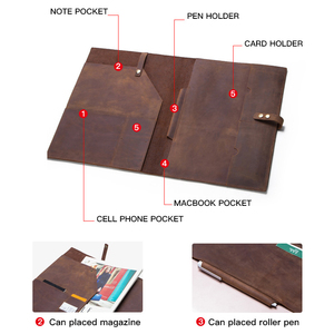 Image 3 - Retro Genuine Leather Laptop Notebook Case For Apple MacBook Retina Carry 12 inch Men Business Laptop Bag Computer Sleeve Pocket