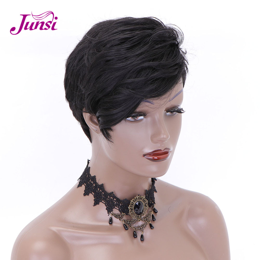 Short Black Synthetic Wigs For Women Pixie Cut Wig Natural Wave Cosplay Heat Resistant Fiber