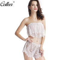 COLLEER Crop Top Bra Sets Of Women Sexy Lingerie Sleepwear Underwear Nightwear Plunging Lace Bralette Transparent