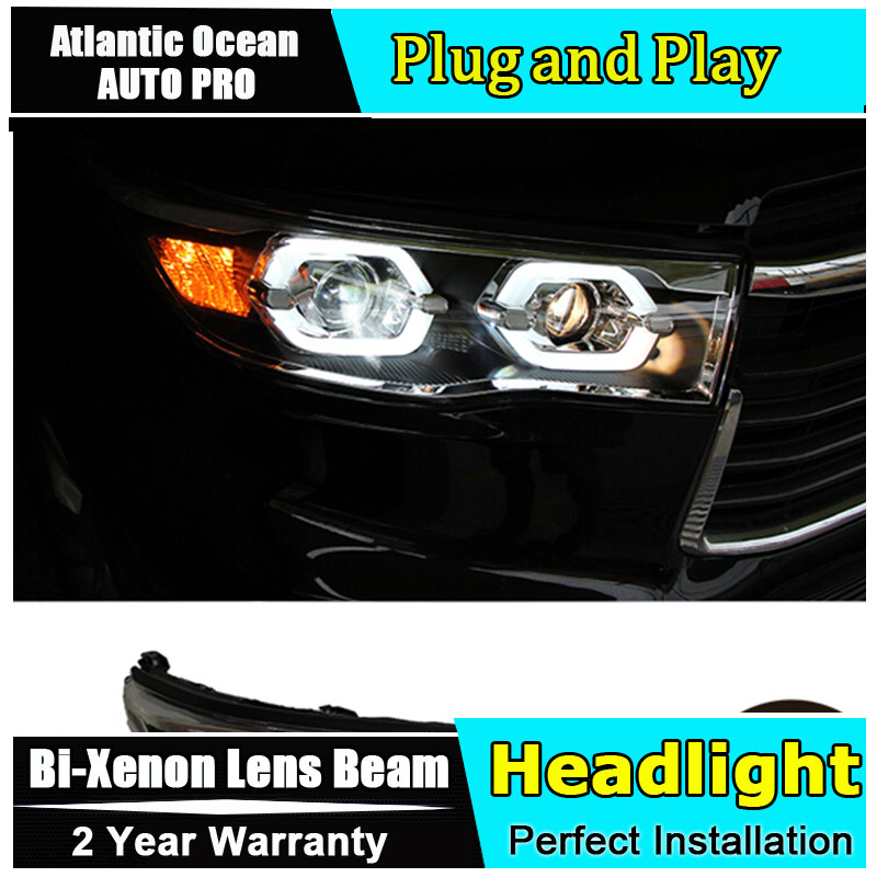AUTO PRO Car Styling LED Head Lamp Headlight Kit For Toyota Highlander headlights 2014 2015 Led Turn Signal Drl High quality Car special car trunk mats for toyota all models corolla camry rav4 auris prius yalis avensis 2014 accessories car styling auto