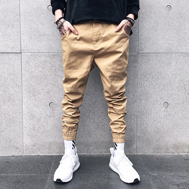 28b909ac Khaki Cotton Men Pant Ankle-length Slim Fit 2018 Autumn Trendy Mens Joggers  Hip hop Casual Harem Pants Man High Quality Clothes