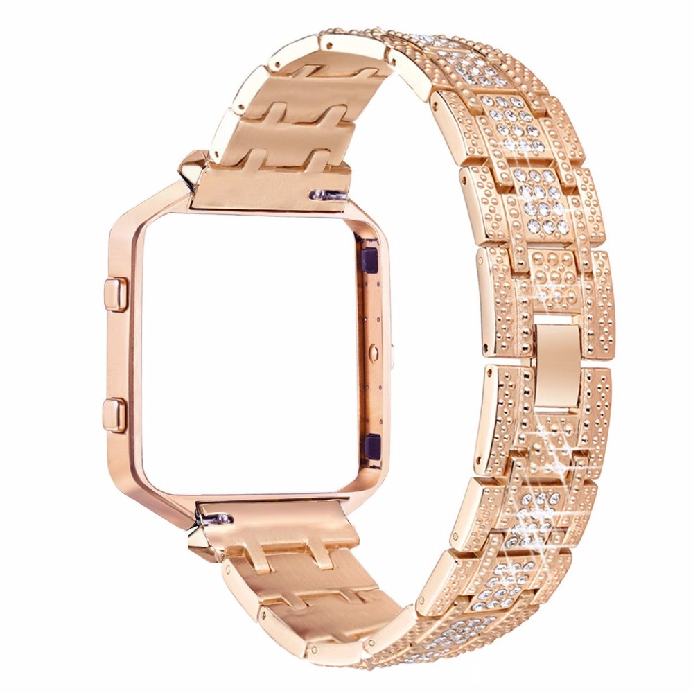 For Fitbit Blaze Bands Metal Bands With Rhinestone Stainless Steel Frame Replacement Accessory Bracelet Silver Rose Gold carlywet 23mm black 316l stainless steel replacement watch strap belt bracelet with case metal frame for fitbit blaze 23 watch