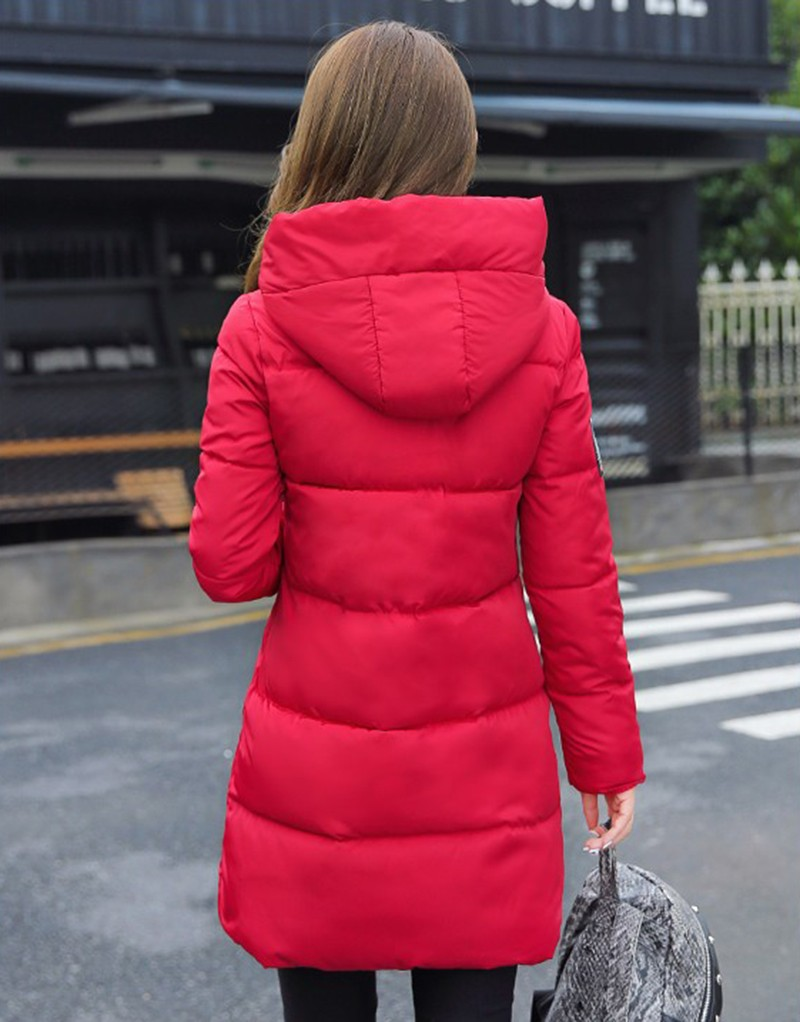 Winter Jacket Women Slim Female Coat Thicken Parka Down Cotton Clothing Red Clothing Hooded Student (4)