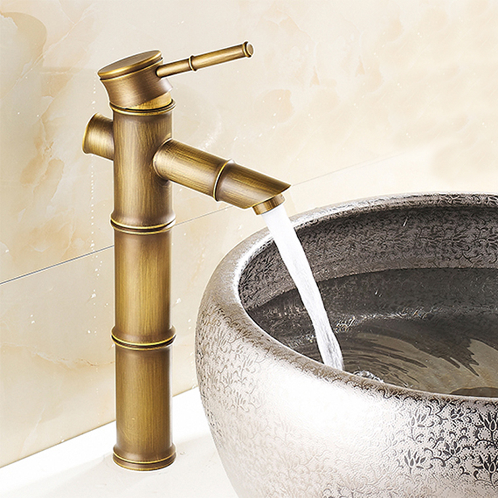 Antique Brass Bathroom Basin Faucets Waterfall Sink Faucet Vessel ...
