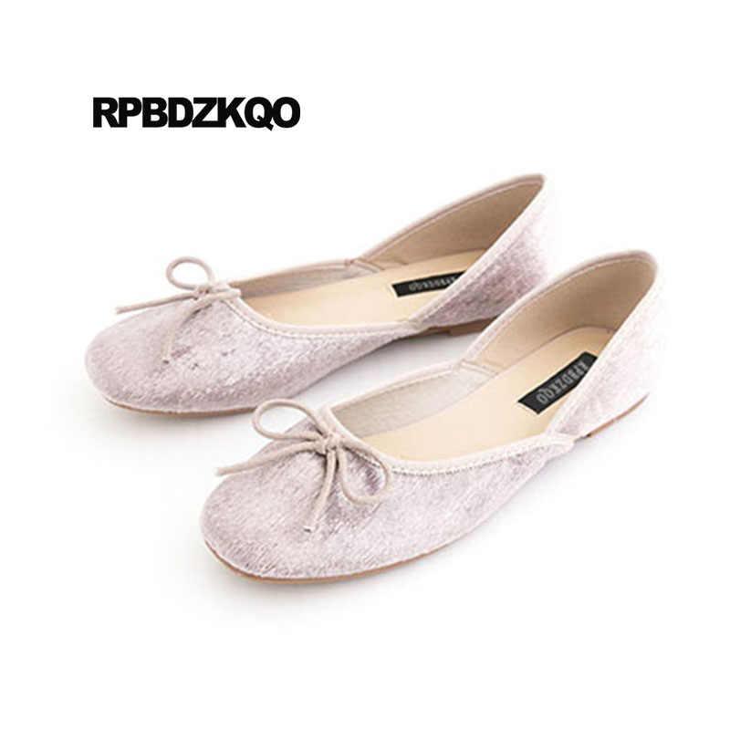 5816f2382 Kawaii Roll Up Pink Shoes Bowtie Foldable Ballet Flats Comfortable Women  Ballerina Cheap Velvet Square Toe