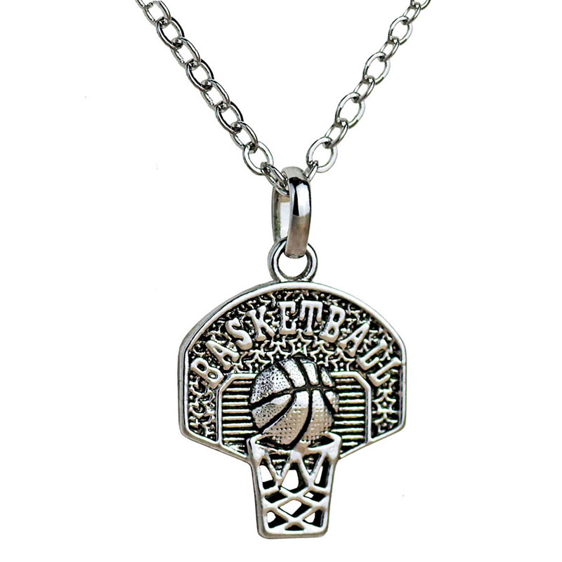 Sports Basketball Necklace Pendant Basketball Hoop Charm Vintage Necklace Basketball Fan Gift Party Sport Jewelry 10pcs