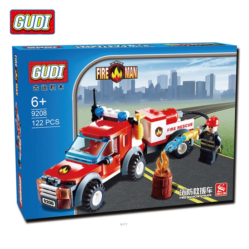 GUDI 122Pcs City Fire Station Fire Rescue Vehicle Minifigure Building Block Bricks Kids Toys Children Gift