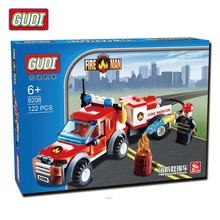 GUDI 122Pcs City Fire Station Fire Rescue Vehicle Minifigure Building Block Bricks Kids Toys Children Gift Compatible With Legoe