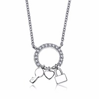 Hot New CZ Silver Necklace For Lady Rhodium Plated Luxury 925 Sterling Silver Chokers Necklace Sterling