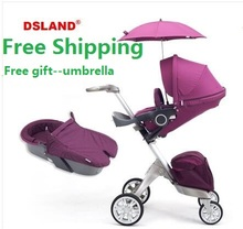 Free Shipping Baby Stroller 2 in 1 Fashion Pram Folding Carriage Suit for Sit and Lying