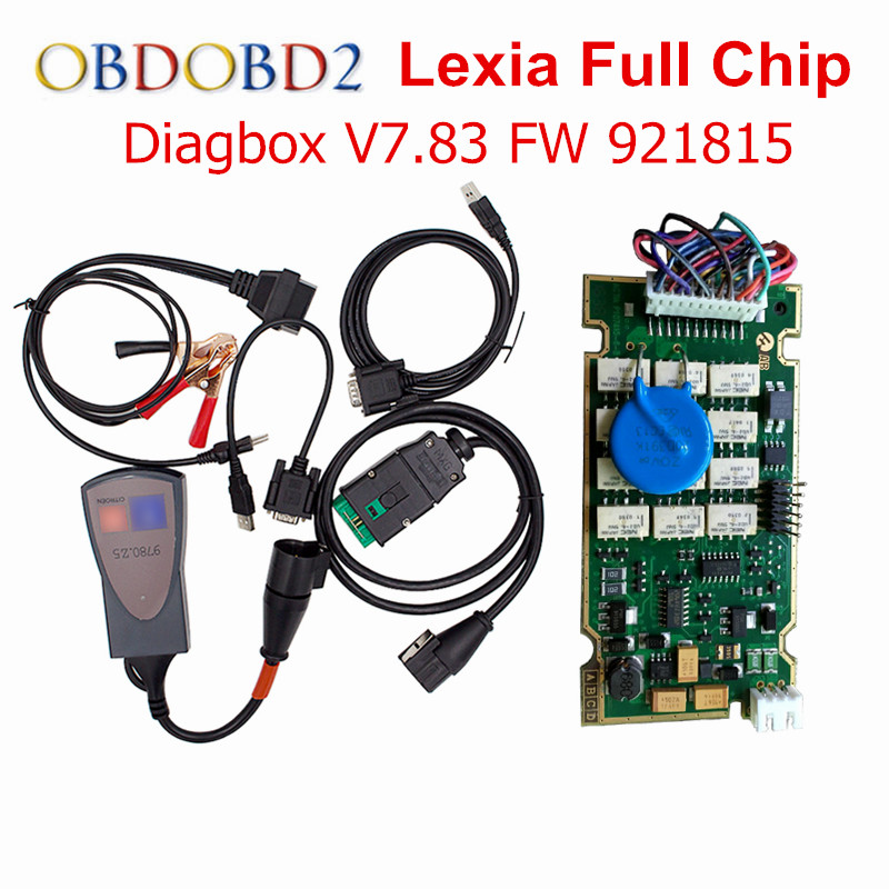 Gold Edge Diagbox V7.83 Lexia 3 Full Chip 921815C For Citroen Peugeot Diagnostic Tool Lexia 3 12pcs Relays 7pcs Optocouplers