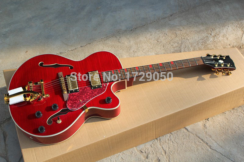 best price china guitar factory custom 100 new jazz red electric guitar with bigsby tremolo. Black Bedroom Furniture Sets. Home Design Ideas