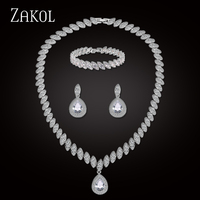 ZAKOL Trendy Shiny Water Drop Cuibic Zirconia Sliver Color Earrings Necklace Bracelet Jewelry Set For Women Bridal Dress FSSP284