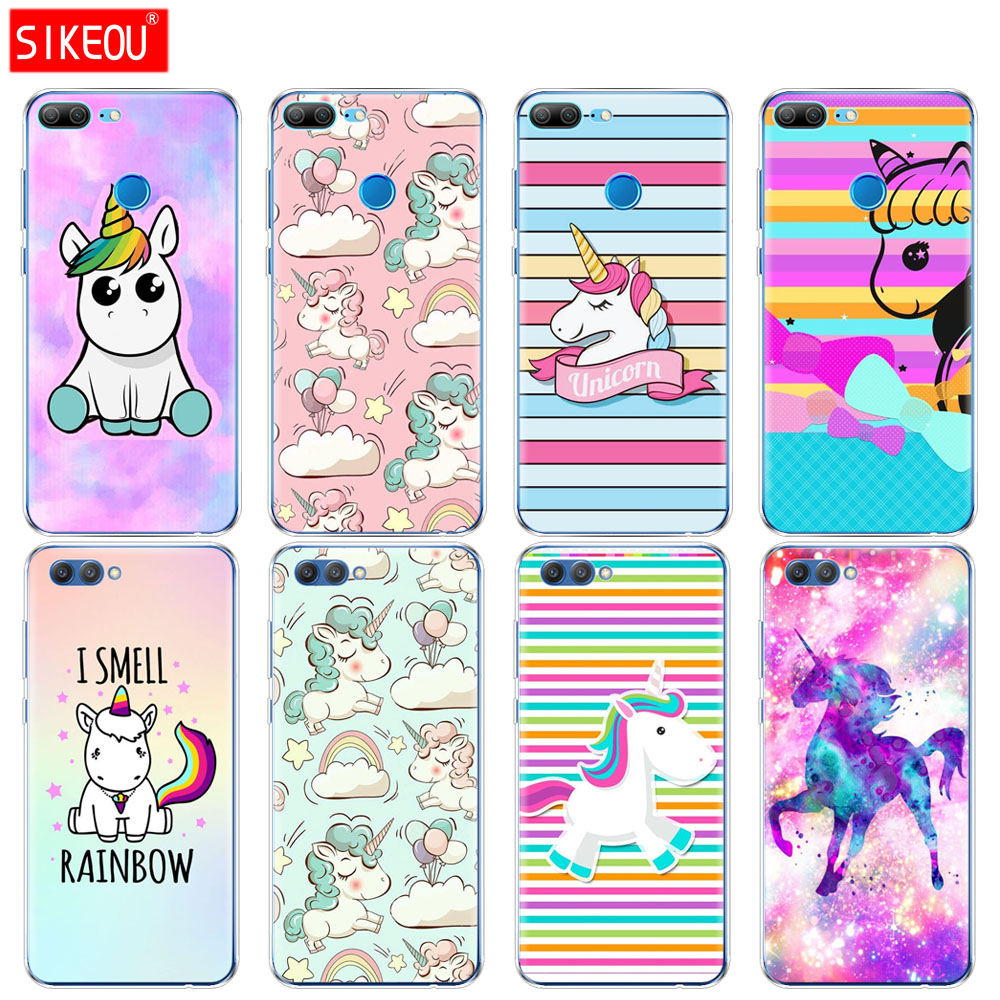 Silicone Cover phone Case for Huawei <font><b>Honor</b></font> 10 V10 3c 4C 5c 5x 4A 6A 6C pro 6X 7X 6 7 8 <font><b>9</b></font> <font><b>LITE</b></font> cute Rainbow <font><b>Unicorn</b></font> image