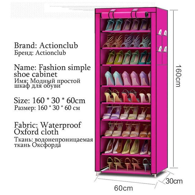 Actionclub Oxford Cloth Minimalist Multi-functional Dustproof Shoe Cabinet Shoes Racks 10 Layer 9 Grid Shoe Organizer Shelf 3
