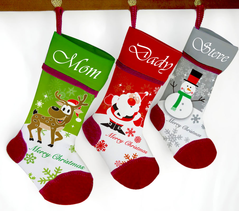 Us 11 0 Customized Name Christmas Stocking Red Velvet Patching Xmas Gift Reindeer Santa Snowman In Stockings Gift Holders From Home Garden On