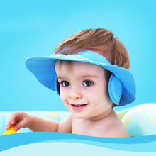 Baby Shower Bath Caps Wash Hair Cap Waterproof Kids Bath Visor Hats Eye Ear Protection Children Hats Infant Adjustable Shield(China)