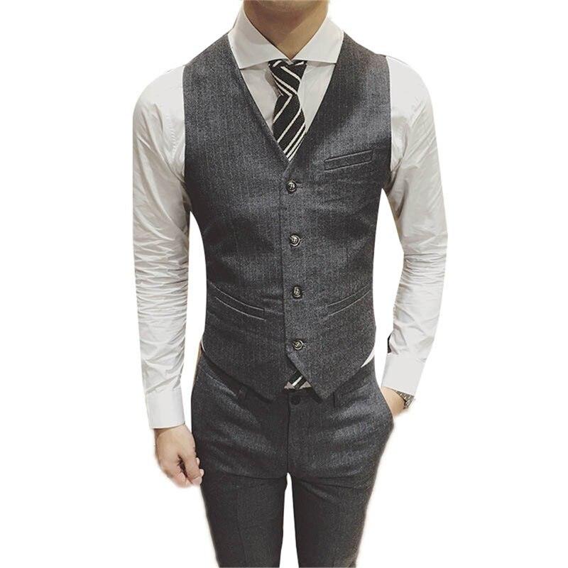 Mens Suit Vest Men Colete Male British Wedding Slim Fit Men sleeveless Black Dress Blazer Vests Casual Waistcoat Party Gilet