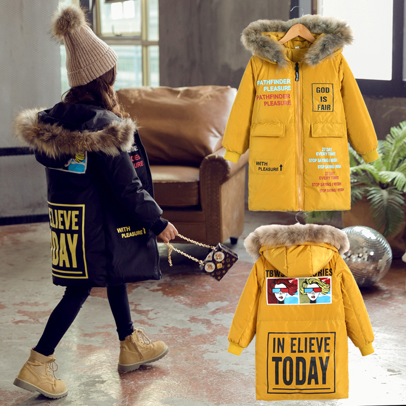 Baby Girl Winter Warm Long Parka Snowsuit Down Cotton Pad Clothes Fashiob Girl Fur Hooded Cotton Long Jacket Coat 6~12Yer winter jacket female parkas hooded fur collar long down cotton jacket thicken warm cotton padded women coat plus size 3xl k450