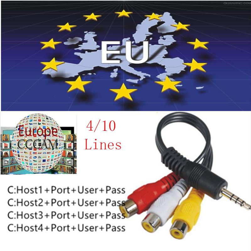 Europe HD cable 1 Year CCams for Satellite tv Receiver 10 Clines WIFI FULL HD DVB-S2 Sup ...