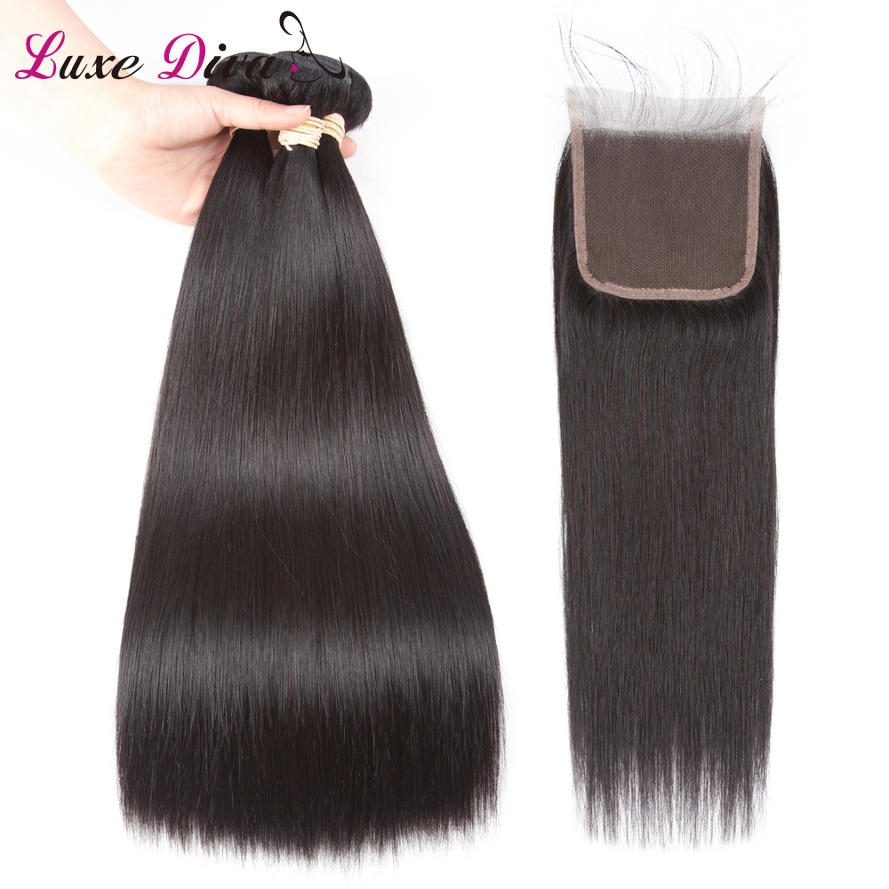 Luxe Diva Deep Wave Hair Bundles With Frontal Human Hair Bundles With Closure Malaysia Hair Weave Bundles With Closure Remy Hair 3/4 Bundles With Closure
