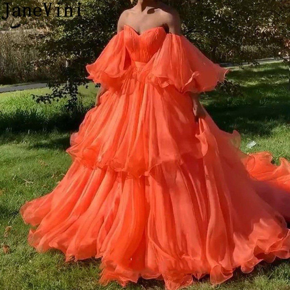 JaneVini Elegant Orange Plus Size Prom Dresses with Puffy Sleeves Strapless A Line Ruffles Tiered Organza