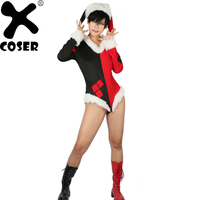 XCOSER Suicide Squad Harley Quinn Costume Bodysuit 2018 Christmas Women Halloween Party Sexy Cosplay Jumpsuit&Hat Set Brand New