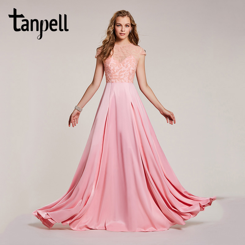 Tanpell beaded long   prom     dress   pink scoop floor length a line gown women cap sleeves wedding party evening formal   prom     dresses
