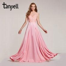9f2f68378cf Tanpell perlée longue robe de bal rose scoop étage longueur une ligne robe  femmes cap manches de mariage soirée formelle robes d.