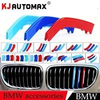KJautomax For BMW Cover Stickers Front Grille Performance Trim Strips 3D Color M 3pcs